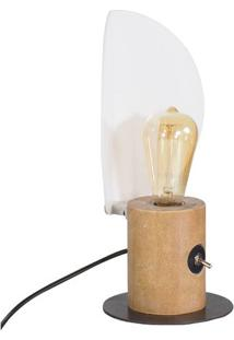 Luminaria De Mesa Mirror Cor Driftwood Com Base Aco Grafite 33 Cm (Alt) - 50894 - Sun House