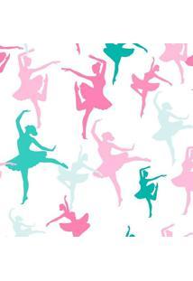 Papel De Parede De Bailarinas- Rosa & Verde- 300X0,5Jmi Decor