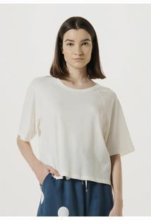 Camiseta Hering Manga Curta Em Malha Canelada Off White