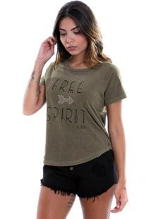 Camiseta Estonada Le Julie Verde Militar - Tricae