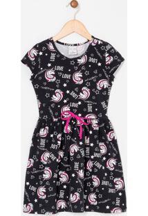 Vestido Infantil Estampas De Unicórnios - Tam 5 A 14 Anos
