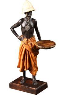 Escultura Decorativa De Resina Homem Africano Ii