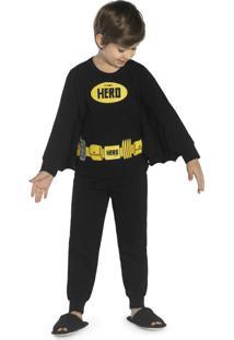 Pijama Masculino Hero Preto