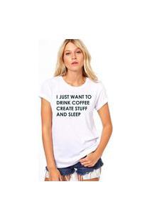 Camiseta Coolest Coffee And Sleep Branco