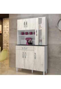 Armário De Cozinha 6 Portas 1 Com Vidro 1 Gaveta Arte Móveis Cinza