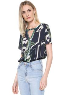 Camiseta Forum Floral Azul-Marinho/Verde