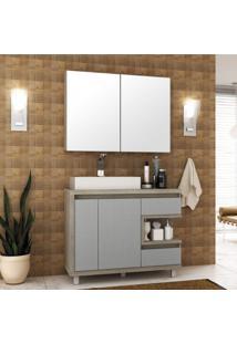 Gabinete Para Banheiro Com Cuba E Armário Com Espelho 100Cm Malbec Móveis Bosi Barrique/Argento