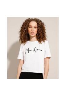 """Camiseta """"Mon Amour"""" Flocada Manga Curta Decote Redondo Branca"""