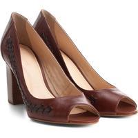 723d4b39eb Peep Toe Couro Shoestock Salto Grosso Handmade - Feminino-Preto+Caramelo