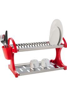 Escorredor De Pratos De Aço Inox, Capacidade Para 16 Unidades + Sup.