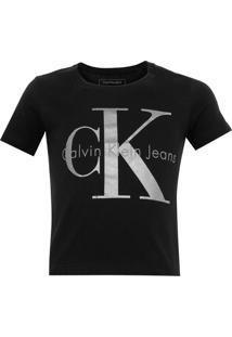 Camiseta Calvin Klein Jeans Foil Infantil Preta