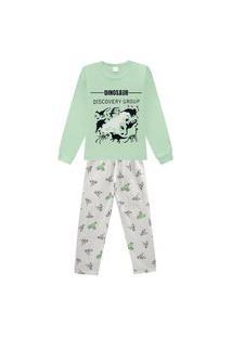 Pijama Juvenil Abrange Estampa Dinos Que Brilha No Escuro Verde E Cinza Abrange Casual Verde