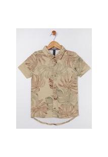 Camisa Manga Curta Estampada Juvenil Para Menino - Bege