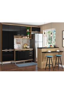 Cozinha Compacta 5 Peças 5845 Sicília - Multimóveis - Argila / Preto