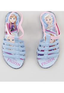 Sandália Infantil Grendene Frozen Com Glitter Azul Claro