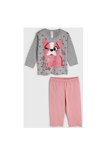Pijama Malwee Liberta Longo Infantil Cachorrinho Cinza/Rosa