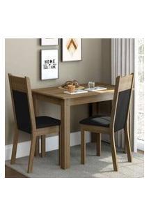 Conjunto Sala De Jantar Madesa Lola Mesa Tampo De Madeira Com 2 Cadeiras Rustic/Preto/Sintético Preto