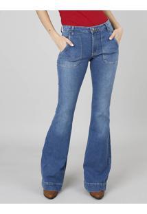 Calça Jeans Feminina Super Flare Com Bolso Azul Médio
