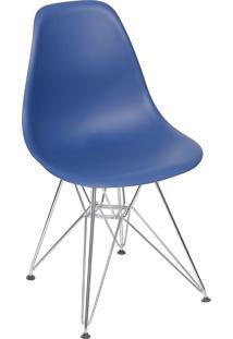 Cadeira Com Base Cromada Eames 1102-Or Design - Azul Marinho