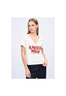 T-Shirt Decote V Branco Ref: 502Ts002009 T-Shirt Decote V Branco Ref: 502Ts002009 - M - Branco Lança Perfume