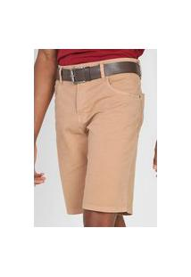 Bermuda Sarja Polo Wear Slim Lisa Bege