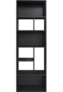 Estante Multiuso 180Cm Modern Office 8 Nichos Preto E Estilare Móveis