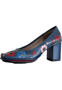 52871f85ba Sapato Feminino J. Gean Em Couro Vintage Retrô Salto Grosso Alto Azul