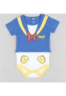 Body Infantil Pato Donald Manga Curta Gola Careca Azul Marinho