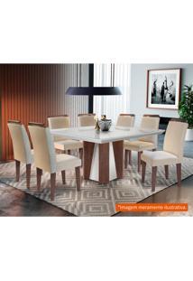 Conjunto De Mesa De Jantar Valença Com Vidro E 8 Cadeiras Athenas Veludo Creme E Off White