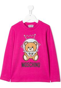 Moschino Kids Blusa Com Teddy Bear Astronauta - Rosa