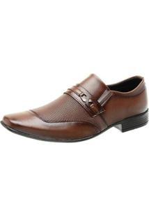 Sapato Social Masculino Elástico Ajustável Fivela Quadrado - Masculino-Café