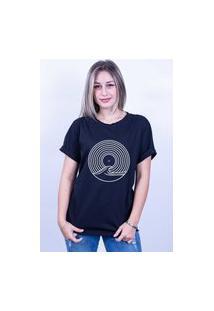 Camiseta Bilhan Corte A Fio Surf Disco Gde Preta
