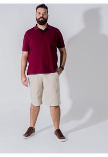Bermuda Sarja Plus Size Bolso-Faca Longford Bege