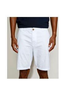 Bermuda De Sarja Masculina Slim Chino Branca