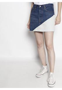 Saia Jeans Reta Com Recorte- Azul & Azul Clarolevis