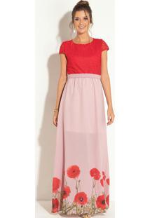 Vestido Longo Floral Rosê Com Renda