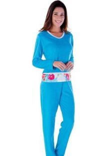 Pijama Feminino Victory Plush Inverno Frio Longo Adulto - Feminino-Azul