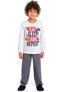 Pijama Infantil Masculino Eat Sleep Branco