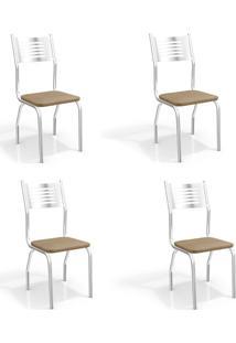 Conjunto Com 4 Cadeiras De Cozinha Munique Cromado E Capuccino