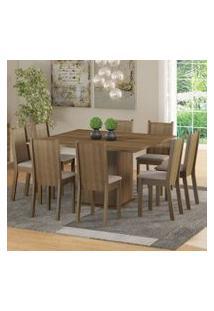 Conjunto Sala De Jantar Clarice Madesa Mesa Tampo De Madeira Com 8 Cadeiras Rustic/Pérola