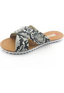 Rasteira Quality Shoes 008 Phyton Preto E Branco