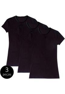 Kit Com 3 Camiseta Baby Look Básica Part.B Gola Redonda Feminina - Feminino-Preto