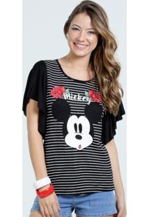 Blusa Feminina Manga Curta Listrada Mickey Disney