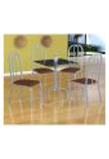 Conjunto De Mesa Malaga Com 4 Cadeiras Madri Branco Prata E Amadeirado