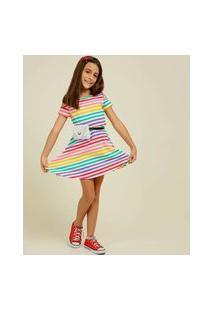 Vestido Infantil Open Shoulder Listrado Marisa Tam 4 A 10