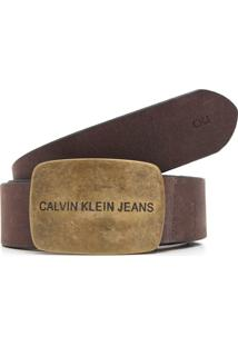 Cinto Couro Calvin Klein Jeans Logo Marrom