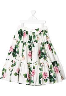 Dolce & Gabbana Kids Saia Com Amarração E Estampa Floral - Branco