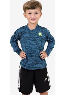 Camisa Esporte Legal Infantil Manga Longa Plank - Masculino-Azul+Preto