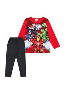 Pijama Infantil 4 A 10 Anos Menino Manga Longa Marvel Vermelho E Preto Vermelho