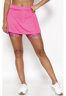 Saia Short Com Logo Abstrata - Pink & Roxawilson